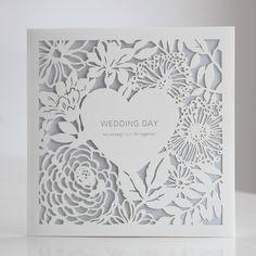 White Laser Cut Heart Floral Blue Wedding Invitations | ItsInvitation