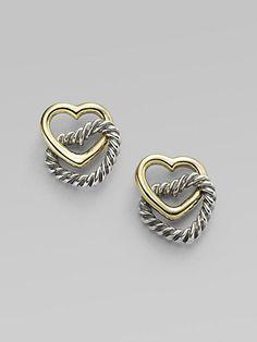 David Yurman - 14K Yellow Gold & Sterling Silver Heart Earrings at London Jewelers!