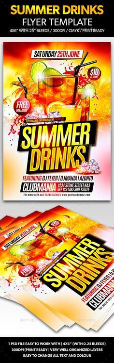 Summer Drinks Flyer Tempalte #design Download: http://graphicriver.net/item/summer-drinks-flyer-template/11285918?ref=ksioks