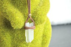 Raw Quartz Necklace Suede Leather Clear Quartz Crystal Necklace Healing Jewelry Unisex Necklace Beach Necklace By Indigo Lizard
