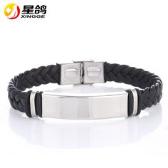 Fashion Punk Men Leather Meaeguet Buckle Bracelets & Bangles High Quality Silver Plated Stainless Steel Charm Bracelet For Male