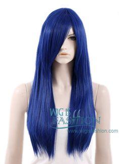 "24"" Heat Resistant Long Straight Dark Blue Fashion Hair Wig PL018"