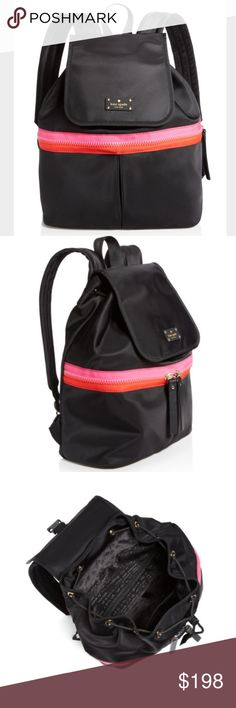 Kate Spade Nylon Marin Backpack NWT. This is a cute and sporty backpack with bright stripes on black nylon. It closes with a drawstring and a magnetic flap. The straps are adjustable. There's a zippered pocket inside and a double zippered pocket outside. kate spade Bags Backpacks