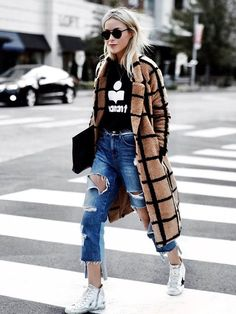 On Mary Seng: Étoile Isabel Marant Black Linen Koldi T-Shirt ($140); Lavish Alice Camel Oversized Check Boyfriend Coat ($150); SJYP Distressed Cropped Jeans ($329); Golden Goose White Francy...