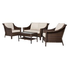 Add a fresh look to your patio or balcony with the Threshold™ Rolston 4-Piece Conversation Set. It s the perfect size for smaller spaces or balconies, creating a great gathering place. All-weather, hand-woven resin wicker is sturdy, and the glass tabletop will withstand the elements all summer long. The powder-coated durable framework of all the pieces are made from steel with galvanized hardware that resists rusting. Set includes a loveseat, 2 chairs and a table. The Red Stripe set ...