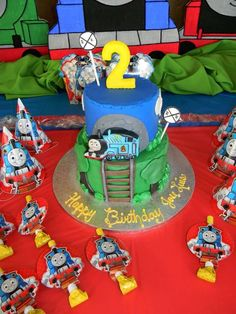 Thomas the Train birthday party cake! See more party planning ideas at CatchMyParty.com!