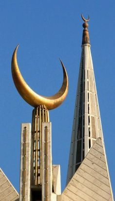 Two brass moons of Faisal Masjid (Mosque) Islamabad. Captured before starting a hike in Margallah Hills behind Faisal Masjid on Jan Mosque Architecture, Religious Architecture, Beautiful Architecture, Art And Architecture, Islamic World, Islamic Art, Pakistan Art, Islamabad Pakistan, Beautiful Mosques