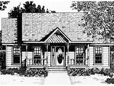 LOVE WINDOWS & FLOOR PLAN              1036 Really Cute Great Floor Plan Landeau Trace Cottage Home  from houseplansandmore.com