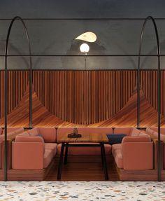 "ZA-ZA uses funky terrazzo surfaces in interior design for restaurant in Kiev Booth seating at ""Evening"" restaurant in Kiev. Bar Interior, Restaurant Interior Design, Commercial Interior Design, Commercial Interiors, Interior Design Living Room, Brewery Interior, Terrazzo, Bar Bistro, Café Bar"
