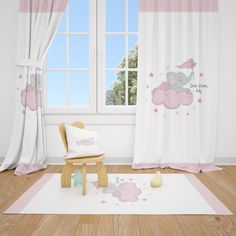 Excited to share this item from my #etsy shop: Cute Elephant and Pink Cloud Baby Girl Room Curtains Nursery Curtains Window Curtains