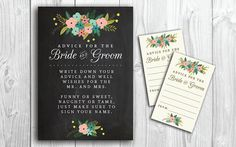 Bride & Groom Advice Cards and Sign // Printable // Advice for the Bride and Groom // INSTANT DOWNLOAD on Etsy, $8.00