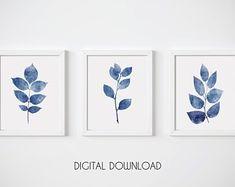 Blue Botanical Print Leaf Wall Art Set of 4 Navy Blue Print Navy Blue Wall Art, Navy Blue Walls, Botanical Wall Art, Botanical Prints, Wall Art Sets, Wall Art Prints, Impressions Botaniques, Digital Print, Leaf Wall Art