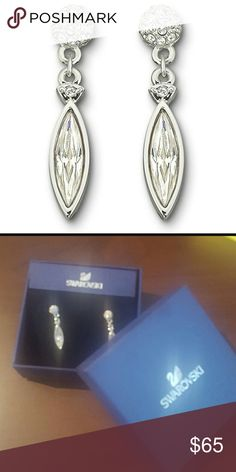 Swarovski Ivory Pierced Earrings Brand new in original box Comes with earring stoppers  Very elegant silver with crystals Swarovski Jewelry Earrings