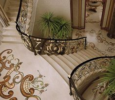 Classic Interiors - Luxury - Budri - Italian Marble Inlay Grand Staircase, Staircase Design, Marble Stairs, Wrought Iron Stairs, Wall Molding, Moulding, Limestone Flooring, Home Ceiling, Tuscan House