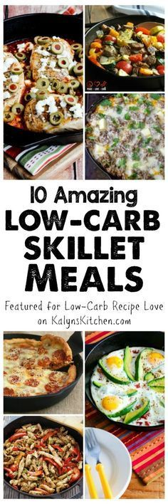 Ten Low-Carb Skillet Meals; some amazing ideas here for meals that only need one skillet and all these tasty meals are also Keto, low-glycemic, and gluten-free and most can be South Beach Diet friendly. [featured for Low-Carb Recipe Love on KalynsKitchen.com]
