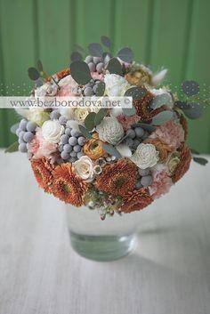 Зимний свадебный букет с герберами,ранункулюсами, серой брунией и эвкалиптом