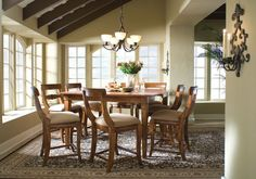 Tuscano Counter Height Table Dining Set by Kincaid Furniture. Tuscano Collection of solid wood furniture by Kincaid Pub Dining Set, Pub Table Sets, Counter Height Dining Table, Table And Chair Sets, Round Dining Table, Dining Room Table, Dining Chairs, Table Stools, Pub Set
