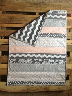 Baby Pink Striped Baby Quilt  by Nooches on Etsy, $75.00