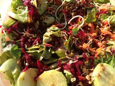 Simply Rawganic Salad. Cucumbers, sprouts, beets, carrots, lettuce, fig mustard vinaigrette.