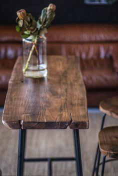 stehtisch bartisch baumkante kuchenbar massivholz industrial 120 45