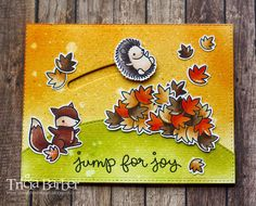 Jump for Joy – Lawn Fawn Card by Tricia Barber using (dies) Lawn Fawn Jump for Joy, Slide on Over; My Favorite Things Die-namics Stitched Basic Edges; (stamps) Lawn Fawn Jump for Joy (slider) Paper Crafts Magazine, Spinner Card, Slider Cards, Lawn Fawn Stamps, Interactive Cards, Jumping For Joy, Thanksgiving Cards, Fall Cards, Scrapbook Cards