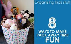 Organising Kids Stuff: 8 Ways to Make Pack Away Time Fun