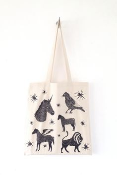 CONSTELLATION ZOO Screen Printed Canvas Tote Bag