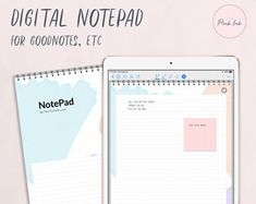 Digital NotePad Yellow paper lined Note Pad Digital Space Crafts, Craft Space, Weekly Planner, Planner Ideas, Business Planner, Planner Organization, Planner Template, Planner Stickers, Yellow Paper