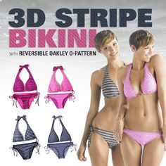The 3–D Stripe bikini comes with a pair of eye–catching looks whether hanging out sand–side or carving the day away. Quick–drying Oakley Swimmetry fabric stretches with every movement and keeps the effects of sand, chlorine and the sun's rays to a minimum. Seen here in Neon Pink and Graphite.