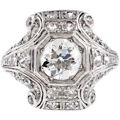 1STDIBS.COM Jewelry & Watches - Art Deco Diamond Platinum Engagement Ring - Fourtane found on Polyvore