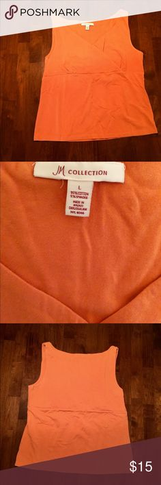 """🍊JM Collection faux wrap tank top JM Collection sexy faux wrap tank top in a mild tangerine orange color. Made of thick 95% cotton 5% spandex, so it has nice stretch. Very well made, sexy, comfortable, great with dark wash jeans, a maxi skirt, or under a blazer for work.   19.5"""" from pit to pit, and 23"""" length   Further discounts when bundled with other items😉 JM Collection Tops Tank Tops"""