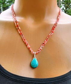 Coral and turquoise beaded necklace coral seed by TamDavisDesigns, $20.00