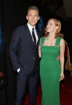 With actress Jessica Chastain at the US premiere of 'Crimson Peak' in NYC, held on Wednesday, 14 October 2015