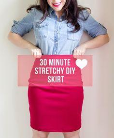 Stretchy Fabric  skirt DIY