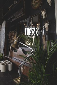Dark Decor. Dark Grey Farrow and Ball Railings. Small antlers and anglepoise lamps. A dark victorian style space with antiques and interior delights in the heart of Bristol