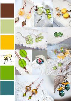 Color Palette: grass, mustard, dark teal & milk chocolate