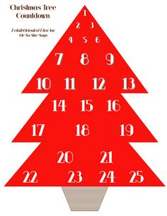 Free printable ~ Christmas tree countdown...add a pom-pom to the tree each day and have a tree full of ornaments by Christmas! (from Detail Oriented Diva via www.oneshetwoshe.com)