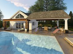Craftsman-Style Pool House with Covered Patio & Full Bath. Craftsman-Style Pool House with Covered Patio & Full Bath. Living Pool, Outdoor Living, Craftsman House Plans, Craftsman Style, Building Plans, Building A House, Building Ideas, Barn Pool, Pool House Designs