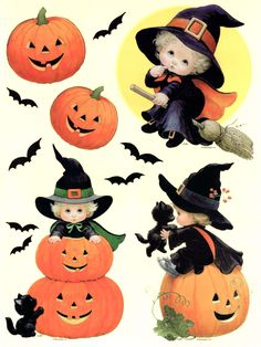 HALLOWEEN BABY WITCHES CLIP ART PRINTABLE