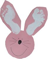 Craft idea for really young kids: Easter bunny with footprint ears and thumbprint noses. Make sure they cut out their own circles! This is a project for learning. ;)