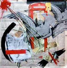 Collage just for fun! on Behance by Michaela Naylor art collage mixed media twine wings phone booth
