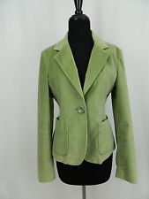 GAP Pea Green Velvet 1 Button Stretch Coat Jacket Women's 10