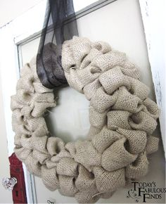 Today's Fabulous Finds: Burlap 'Bubble' Wreath Tutorial: use noodle and the burlap ribbon.