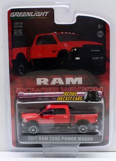 1:64  GREENLIGHT HOBBY EXCLUSIVE - 2017 RAM 2500 POWER WAGON FLAME RED WITH BLAC #GreenLight #Dodge