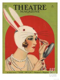 Theatre Magazine, Rabbits Bunny Girls Make Up Makeup Magazine, USA, 1924 Art Print at Art.com