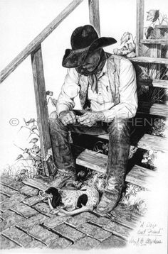 Pencil drawing of a ranch cowboy and his hound dog