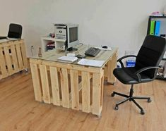 diy möbel europaletten home office gestalten schreibtisch