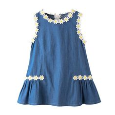 Daisy Flower Patch Girls Denim Casual Dress For Girls Frock Design, Baby Dress Design, Baby Frocks Designs, Kids Frocks Design, Frocks For Girls, Little Girl Dresses, Kids Dress Wear, Denim Dress Outfit Summer, Girls Denim Dress