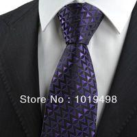 hot sale silk tie for men 1pcs tie brand new Purple Black Arrow Pattern JACQUARD WOVEN Microfiber Men's Tie Necktie,Width 8.5cm