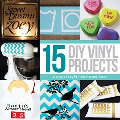 15 DIY Vinyl Projects at artsyfartsymama.com #vinyl #silhouette...so many things you can create with it! Wall art, holiday decor, favors, and handmade gifts are just a few ideas to get you started. Today I'm sharing 15 easy DIY vinyl projects you can make in an afternoon!